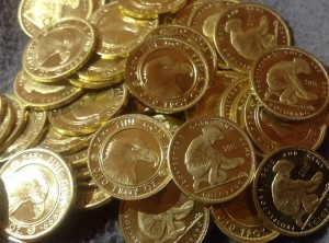 pile of gold bullion coins