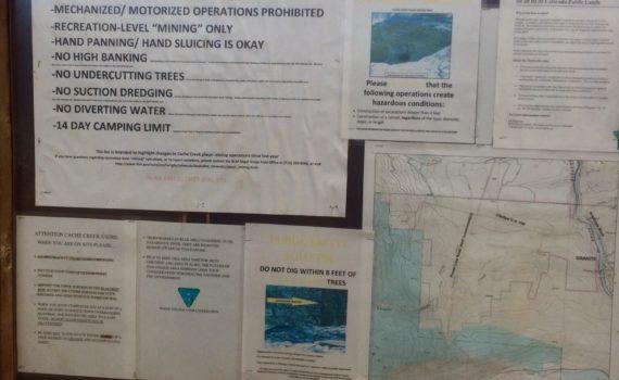 Cache Creek Colorado prospecting rules
